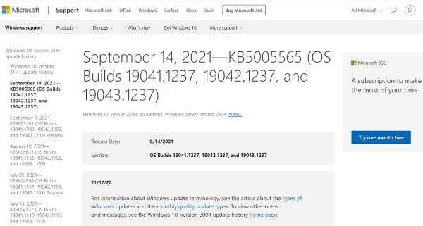 Win 10 Security update KB5005565